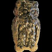 Vintage Brass Plate Owl Wall Bill Clip