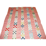 Circa 1910-1920 Early Calico Fabric Quilt Top