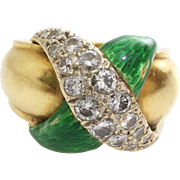 Diamond Pinky Ring   18K Yellow Gold   Vintage Green Enamel Retro X