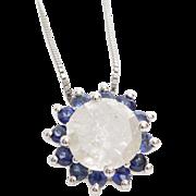 Diamond Sapphire Pendant Necklace | 14K White Gold | Vintage Flower