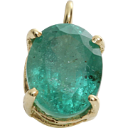 Oval Emerald Pendant | 14K Yellow Gold | Vintage Solitaire Israel