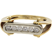 Mens Diamond Ring | 18K Yellow White Gold | Vintage Brilliant Gents