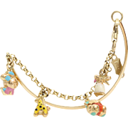 Girls Charm Bangle Bracelet | 14K Yellow Gold Enamel | Vintage USA Kid