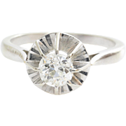 Art Deco Diamond Ring | 18K White Gold | Vintage Engagement Solitaire