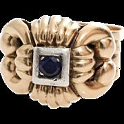 Mens Blue Sapphire Ring   14K Rose White Gold   Vintage Cocktail Gents
