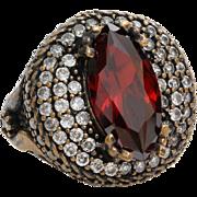Red Topaz Mens Ring | Sterling Silver Gilt Bronze | Vintage Cocktail