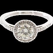 Diamond Halo Engagement Ring | 14K White Gold | Vintage Brilliant Cut