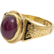 Cabochon Ruby Ring | 18K Yellow Gold | Vintage Solitaire Cut English