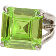 Peridot Cocktail Ring | Sterling Silver Green | Vintage 925