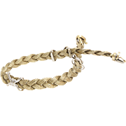 Gold Braided Bracelet | 14K Yellow White | Vintage Italy Bicolor X