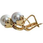 Russian Gray Pearl Earrings | 14K Yellow Gold | Vintage Cultured