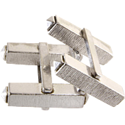 18K White Gold Cufflinks | Vintage Mens Rectangular | Gents Cuff Link