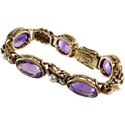 Victorian Amethyst Bracelet | 14K Gold Seed Pearl | Antique Link