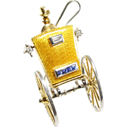 Carriage Brooch Pendant | 18K Gold Enamel Diamond | Vintage Clip Pin
