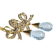 Blue Topaz Drop Earrings | 18K Gold Diamond | Antique Russia Briolette