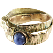Retro Sodalite Cocktail Ring | 9K Yellow Gold | Blue Cabochon Vintage
