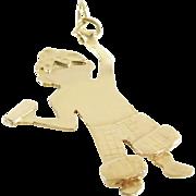 Boy Charm Pendant | 18K Yellow Gold | Vintage America Hanging Necklace