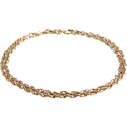 Gold Chain Necklace   9K Rose Yellow   Collar Length Vintage Link