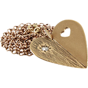 Diamond Heart Pendant Necklace   9K Gold Yellow Rose   Vintage Chain