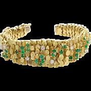 Emerald Diamond Link Bracelet | 18K Yellow Gold | Vintage Retro Italy