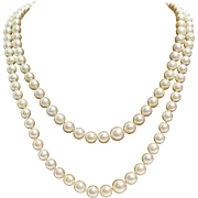 Cultured Pearl Necklace | 18K White Gold Diamond | Vintage Princess