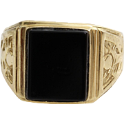 Mens Retro Onyx Ring | 14K Yellow Gold | Vintage Israel Gents Jewelry