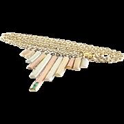 Tricolor Gold Choker Necklace | 9K Yellow Rose White | Emerald Retro