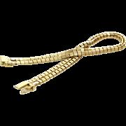 18K Gold Omega Bracelet | Double Strand Yellow | Vintage Flexible Italy
