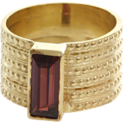 Rubellite Tourmaline Cocktail Ring   14K Yellow Gold   Vintage Retro