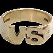 VS Initial Ring   9 Karat Yellow Gold   Vintage Mens England Gents