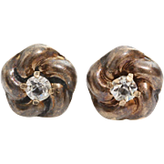 Victorian Zircon Stud Earrings | 14K Rose Gold | Flower Round Antique