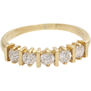 Five Stone Cubic Zirconia Ring | 14K Yellow Gold | Engagement Vintage
