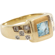 Aquamarine Diamond Ring | 8K Yellow Gold | Vintage Square Cut Cocktail