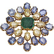 Emerald Sapphire Brooch Pendant   18K Yellow Gold   Italy Vintage Blue