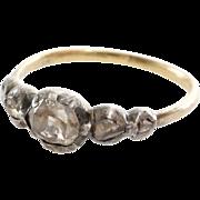 Georgian Diamond Ring | 18K Gold Silver | Five Stone Rose Cut Antique