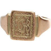 Victorian Monogram Ring | 9K Rose Gold | Antique England Signet BM