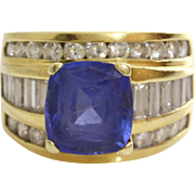 Blue Spinel Diamond Ring | 18K Yellow Gold | Vintage Cocktail Retro
