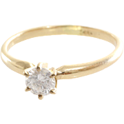 Diamond Engagement Ring   14K Yellow Gold   Round Solitaire Vintage