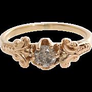 Gray Diamond Engagement Ring   14K Rose Gold   Art Deco Fancy Russian