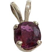 Ruby Gold Pendant | 14K White Cushion | Vintage Solitaire Israel 0.74Ct