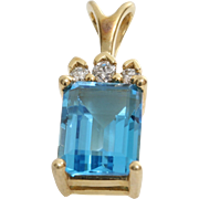 Blue Topaz Diamond Pendant | 14K Yellow Gold | Vintage Rectangle Israel