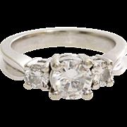 Three Stone Diamond Engagement Ring | 14K White Gold | Round Vintage