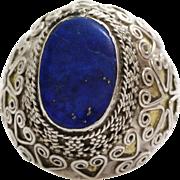 Lapis Lazuli Kuchi Ring | Afghan Silver | Tribal Ethnic Bedouin Signet