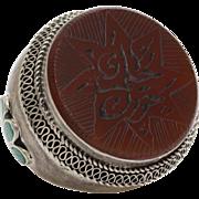 Carnelian Intaglio Arabic Ring | Afghan Silver Kuchi | Islamic Engraved