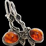 Amber Silver Drop Earrings | Vintage Cabochon Copal  | Resin Leaf