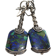 Azurite Malachite Silver Earrings   925 Sterling Drop   Vintage Israel