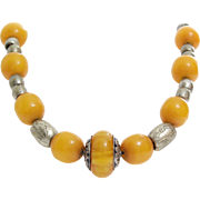 Yellow Amber Beaded Necklace | African Trade Copal | Vintage Silver