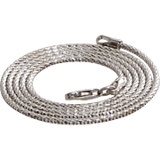White Gold Necklace | 18K Woven Rope Chain | Vintage Mens Braided Italy