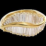 Diamond Cocktail Ring   18K Yellow Gold   Vintage Retro Baguette Cut