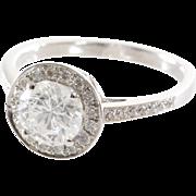 Halo Diamond Engagement Ring | 14K White Gold | Vintage Brilliant 1.5Ct